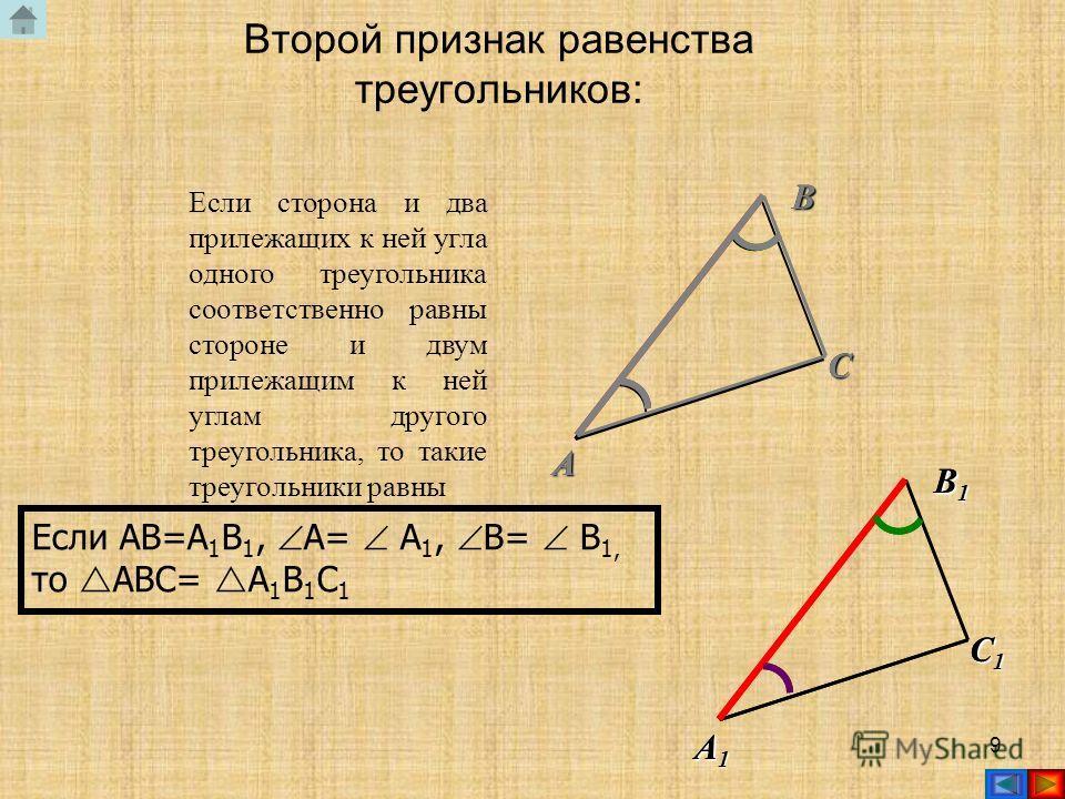 8 ABC Если две стороны и угол между ними одного треугольника соответственно равны двум сторонам и углу между ними другого треугольника, то такие треугольники равны Если AB=A 1 B 1, AC=A 1 C 1, A= A 1, то ABC= A 1 B 1 C 1 Первый признак равенства треу