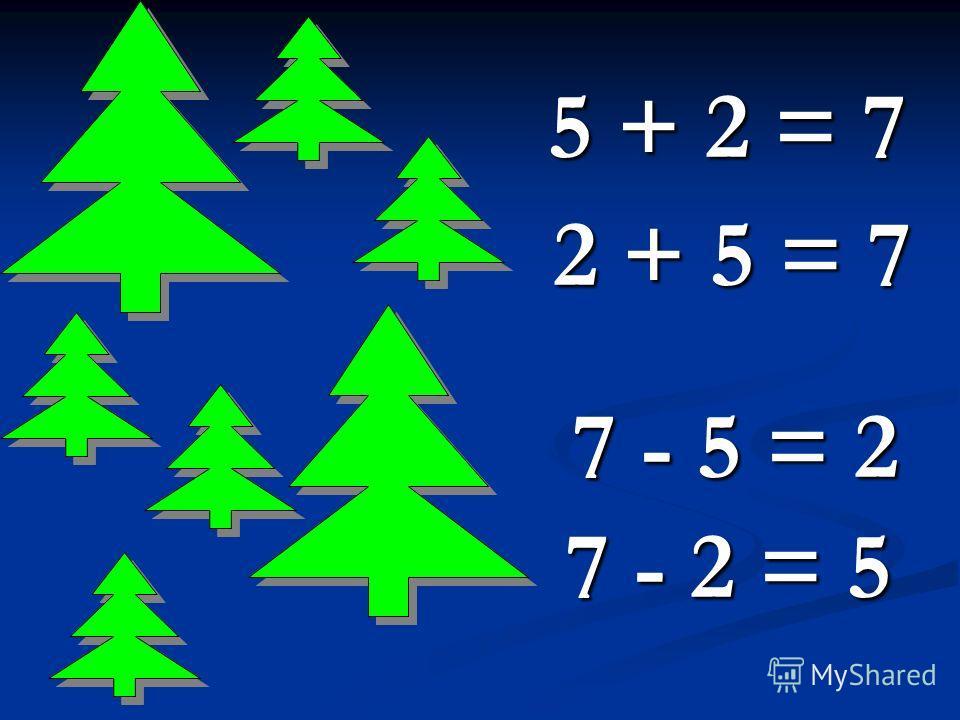 5 + 2 = 7 2 + 5 = 7 7 - 5 = 2 7 - 2 = 5