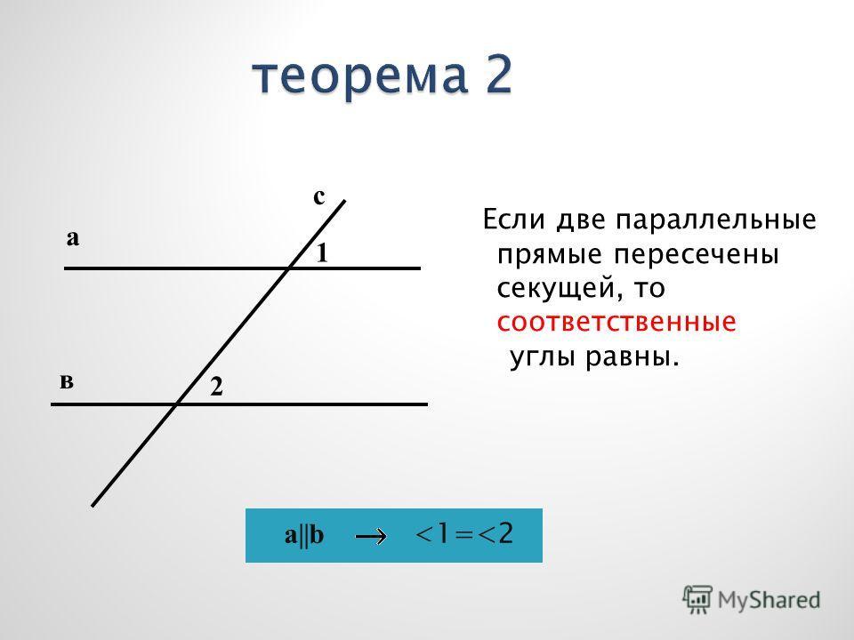 Если две параллельные прямые пересечены секущей, то соответственные углы равны. с а в 1 2