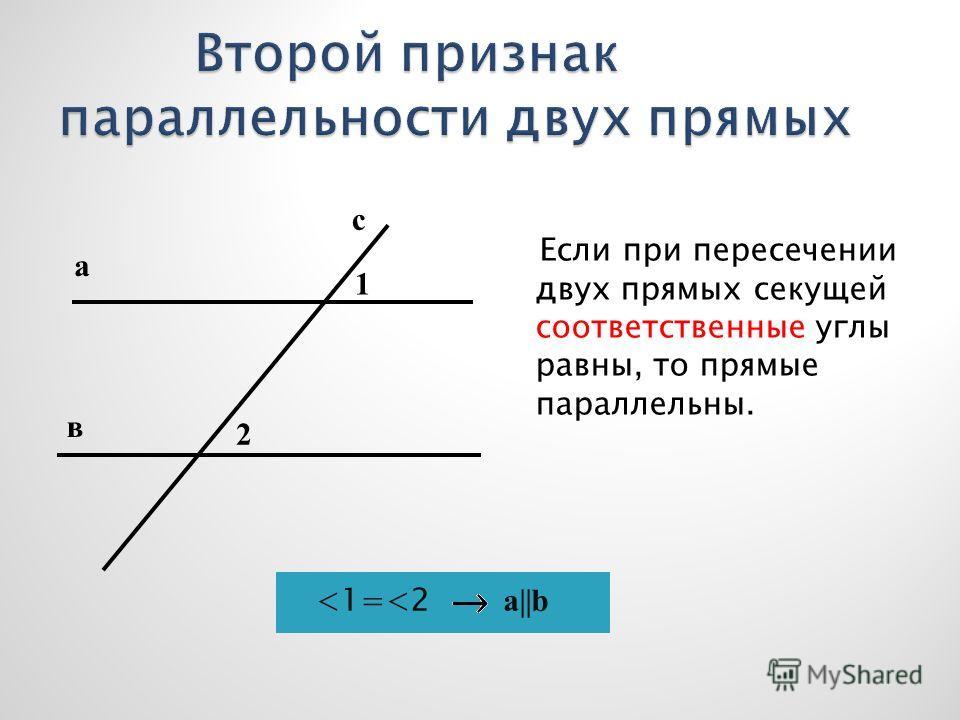 Если при пересечении двух прямых секущей соответственные углы равны, то прямые параллельны. с а в 1 2