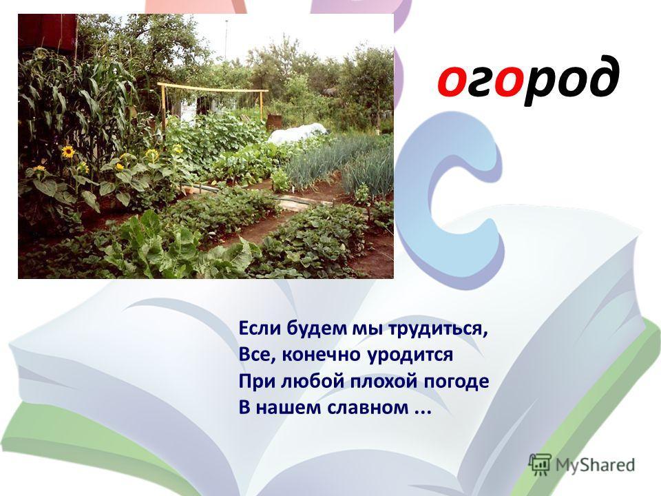 огород Если будем мы трудиться, Все, конечно уродится При любой плохой погоде В нашем славном...