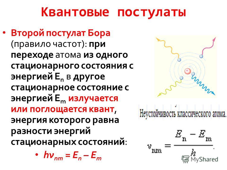 Квантовые постулаты Второй постулат Бора (правило частот): при переходе атома из одного стационарного состояния с энергией E n в другое стационарное состояние с энергией E m излучается или поглощается квант, энергия которого равна разности энергий ст