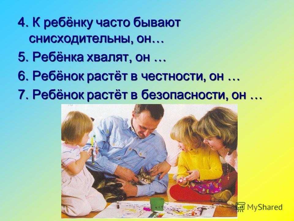 4. К ребёнку часто бывают снисходительны, он… 5. Ребёнка хвалят, он … 6. Ребёнок растёт в честности, он … 7. Ребёнок растёт в безопасности, он …