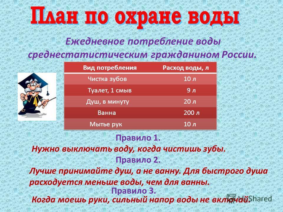 Ежедневное потребление воды среднестатистическим гражданином России. Правило 1. Нужно выключать воду, когда чистишь зубы. Лучше принимайте душ, а не ванну. Для быстрого душа расходуется меньше воды, чем для ванны. Правило 2. Правило 3. Когда моешь ру