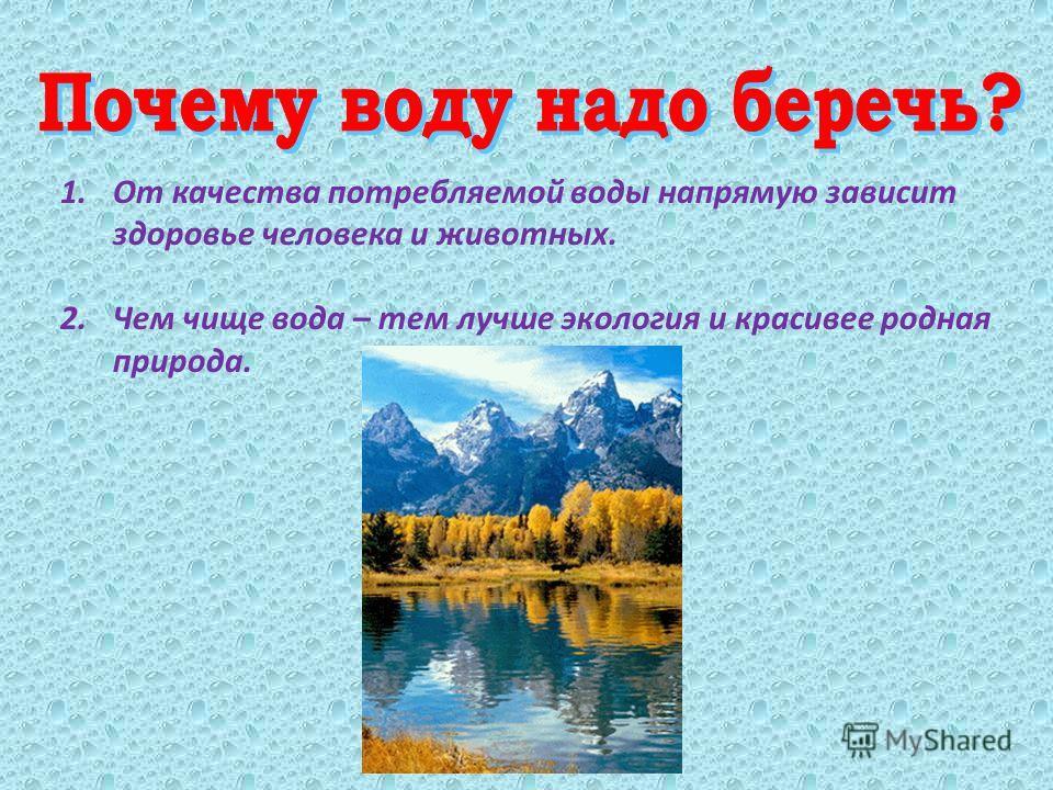 1. От качества потребляемой воды напрямую зависит здоровье человека и животных. 2. Чем чище вода – тем лучше экология и красивее родная природа.