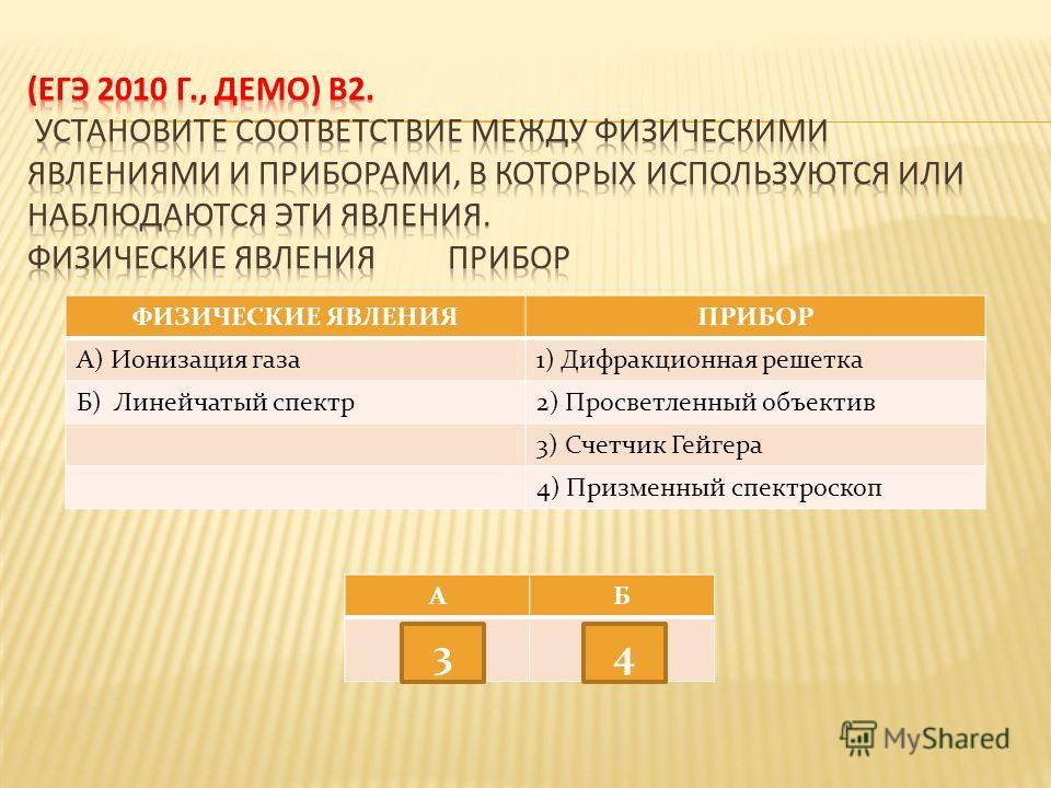 ФИЗИЧЕСКИЕ ЯВЛЕНИЯПРИБОР А) Ионизация газа 1) Дифракционная решетка Б) Линейчатый спектр 2) Просветленный объектив 3) Счетчик Гейгера 4) Призменный спектроскоп АБ 34