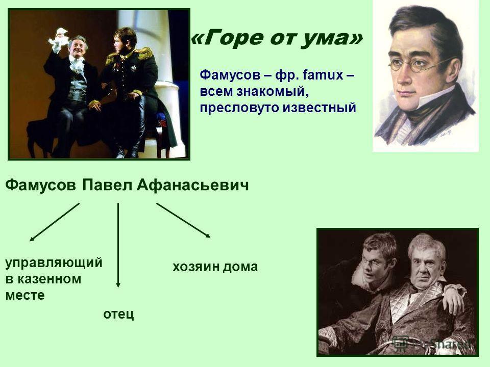 «Горе от ума» Фамусов Павел Афанасьевич управляющий в казенном месте отец хозяин дома Фамусов – фр. famux – всем знакомый, пресловуто известный