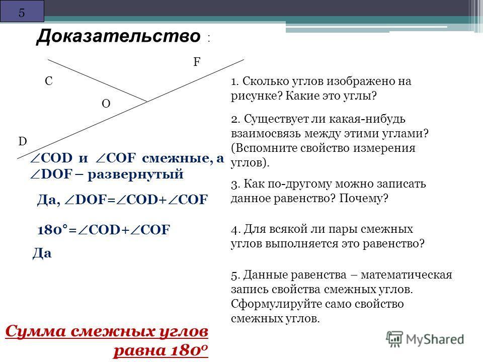 С О D F Дано: DОC и CОF – смежные -------------------------------------- Доказать: DОC + CОF = 180* Теорема: