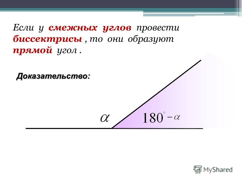 Если у смежных углов провести биссектрисы, то они образуют прямой угол.