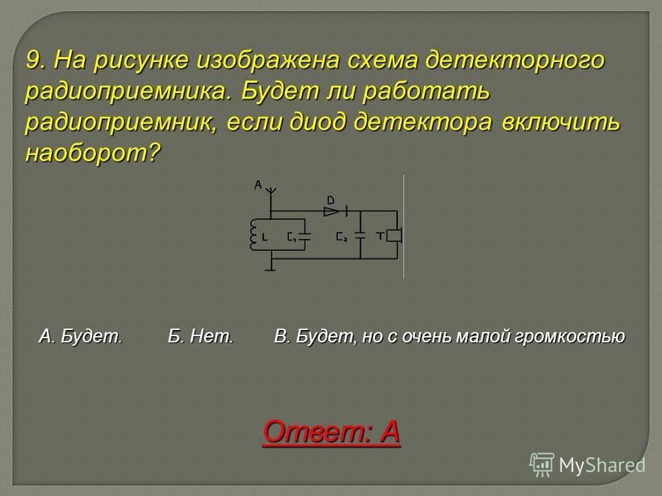 9. На рисунке изображена схема детекторного радиоприемника. Будет ли работать радиоприемник, если диод детектора включить наоборот? А. Будет. Б. Нет. В. Будет, но с очень малой громкостью Ответ: А