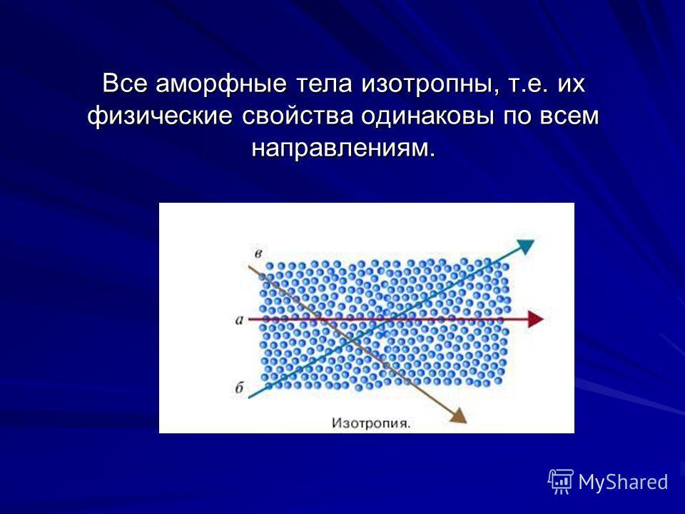 Все аморфные тела изотропны, т.е. их физические свойства одинаковы по всем направлениям.