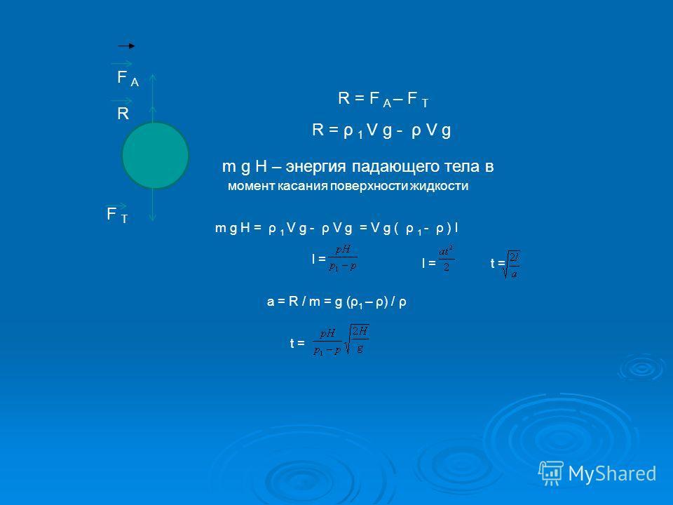 R = F A – F T F A F T R R = ρ 1 V g - ρ V g m g H – энергия падающего тела в момент касания поверхности жидкости m g H = ρ 1 V g - ρ V g = V g ( ρ 1 - ρ ) l l = t = a = R / m = g (ρ 1 – ρ) / ρ t =