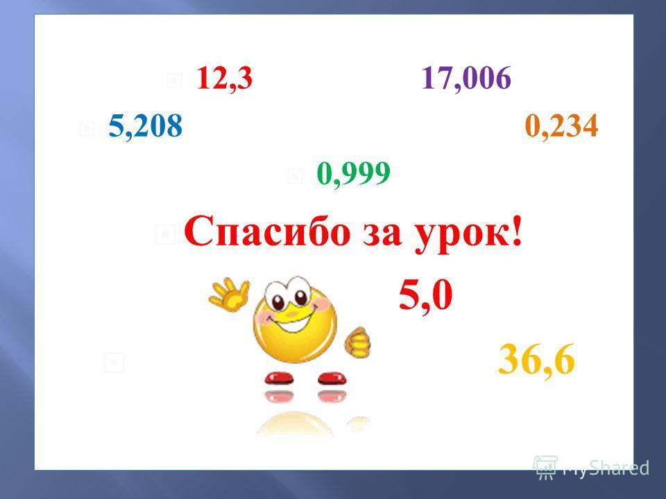 12,3 17,006 5,208 0,234 0,999 Спасибо за урок ! 5,0 36,6