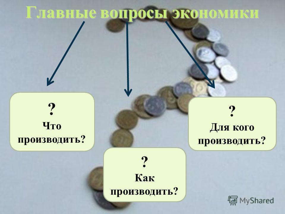 Главные вопросы экономики ? Что производить? ? Как производить? ? Для кого производить?
