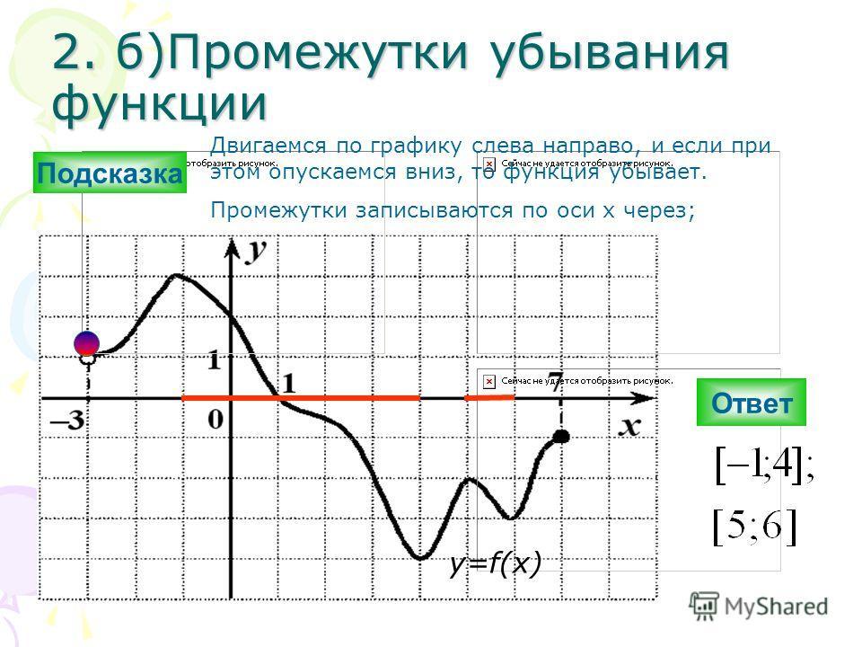 2. б)Промежутки убывания функции Ответ y=f(x) Подсказка Двигаемся по графику слева направо, и если при этом опускаемся вниз, то функция убывает. Промежутки записываются по оси х через;