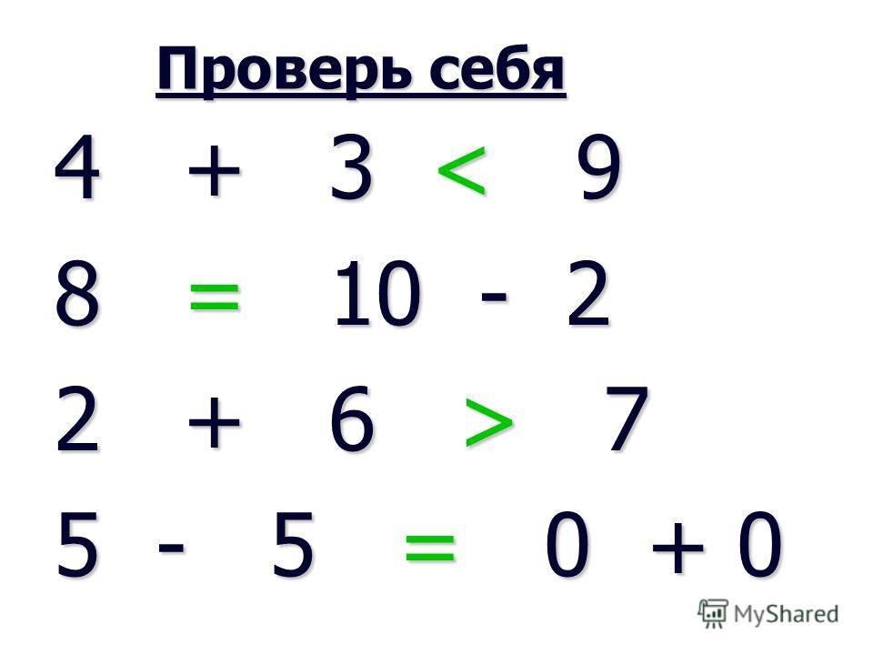Проверь себя Проверь себя 4 + 3 < 9 8 = 10 - 2 2 + 6 > 7 5 - 5 = 0 + 0