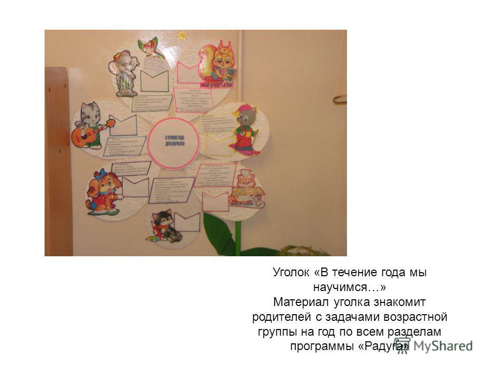 Уголок «В течение года мы научимся…» Материал уголка знакомит родителей с задачами возрастной группы на год по всем разделам программы «Радуга»