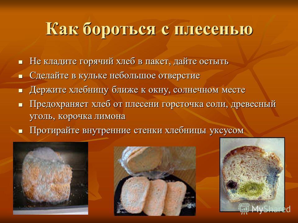 Как бороться с плесенью Не кладите горячий хлеб в пакет, дайте остыть Не кладите горячий хлеб в пакет, дайте остыть Сделайте в кульке небольшое отверстие Сделайте в кульке небольшое отверстие Держите хлебницу ближе к окну, солнечном месте Держите хле