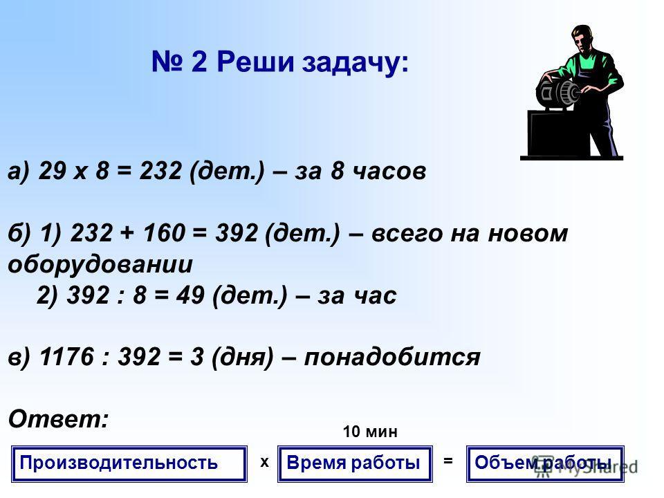 а) 29 x 8 = 232 (дет.) – за 8 часов б) 1) 232 + 160 = 392 (дет.) – всего на новом оборудовании 2) 392 : 8 = 49 (дет.) – за час в) 1176 : 392 = 3 (дня) – понадобится Ответ: 2 Реши задачу: Производительность Время работы Объем работы x= 10 мин