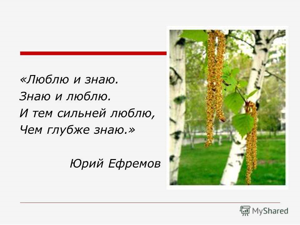 «Люблю и знаю. Знаю и люблю. И тем сильней люблю, Чем глубже знаю.» Юрий Ефремов