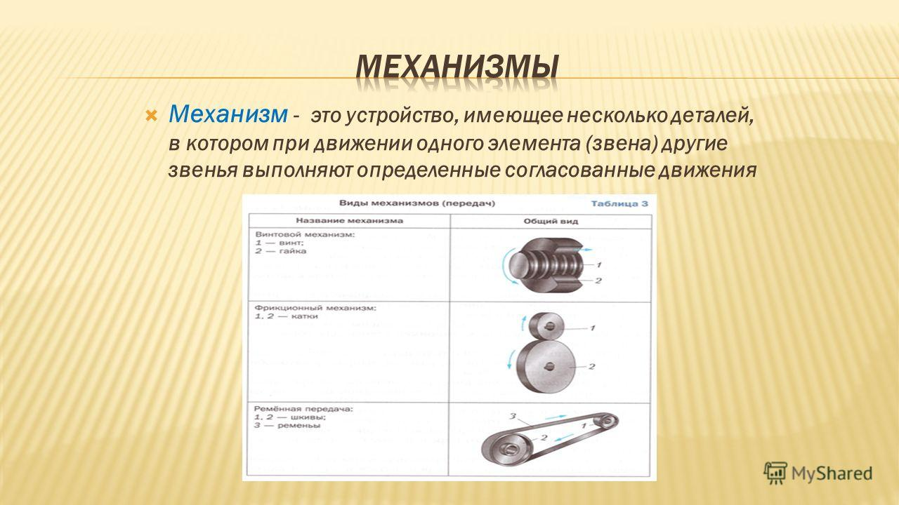 Механизм - это устройство, имеющее несколько деталей, в котором при движении одного элемента (звена) другие звенья выполняют определенные согласованные движения