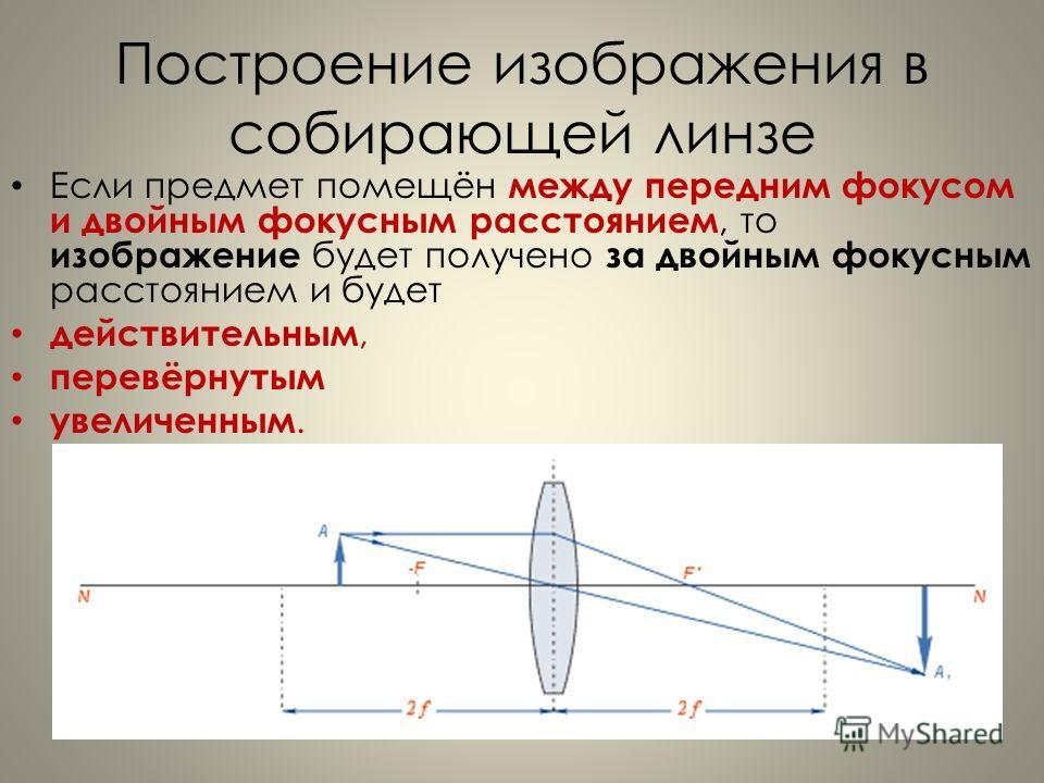 Построение изображения в собирающей линзе Если предмет помещён между передним фокусом и двойным фокусным расстоянием, то изображение будет получено за двойным фокусным расстоянием и будет действительным, перевёрнутым увеличенным.