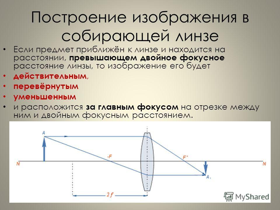 Построение изображения в собирающей линзе Если предмет приближён к линзе и находится на расстоянии, превышающем двойное фокусное расстояние линзы, то изображение его будет действительным, перевёрнутым уменьшенным и расположится за главным фокусом на