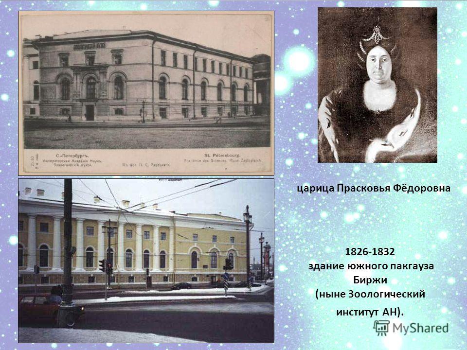 царица Прасковья Фёдоровна 1826-1832 здание южного пакгауза Биржи (ныне Зоологический институт АН).