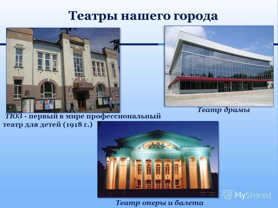 ТЮЗ - первый в мире профессиональный театр для детей (1918 г.) Театр драмы Театр оперы и балета Театры нашего города