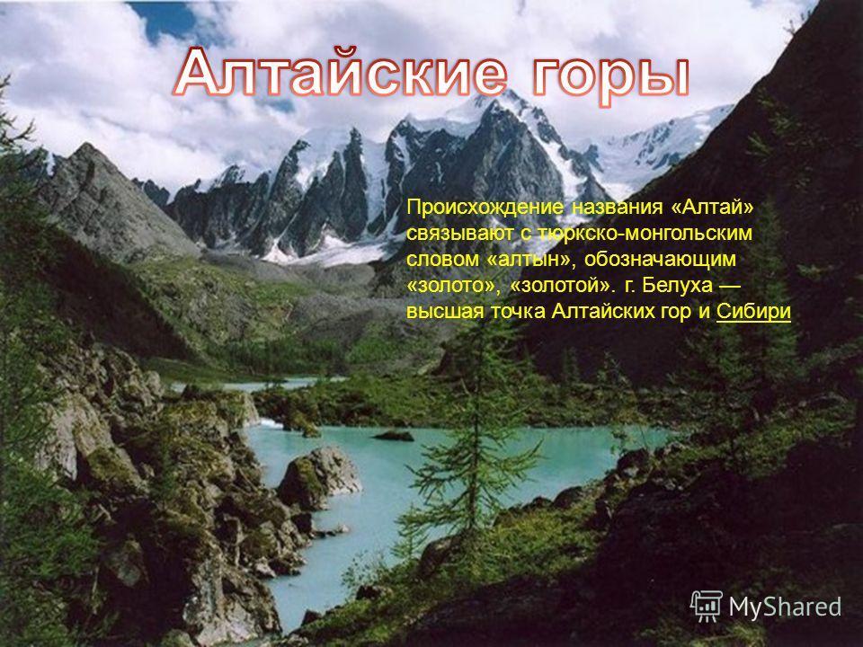Происхождение названия «Алтай» связывают с тюркско-монгольским словом «алтын», обозначающим «золото», «золотой». г. Белуха высшая точка Алтайских гор и Сибири