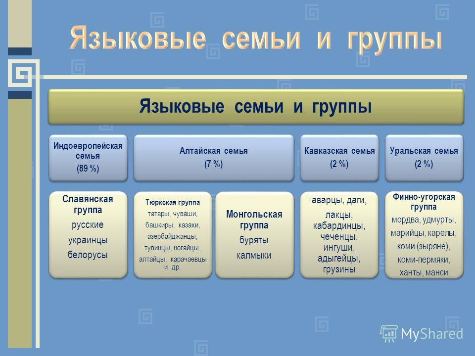 Языковые семьи и группы Индоевропейская семья (89 %) Славянская группа русские украинцы белорусы Алтайская семья (7 %) Тюркская группа татары, чуваши, башкиры, казахи, азербайджанцы, тувинцы, ногайцы, алтайцы, карачаевцы и др. Монгольская группа буря