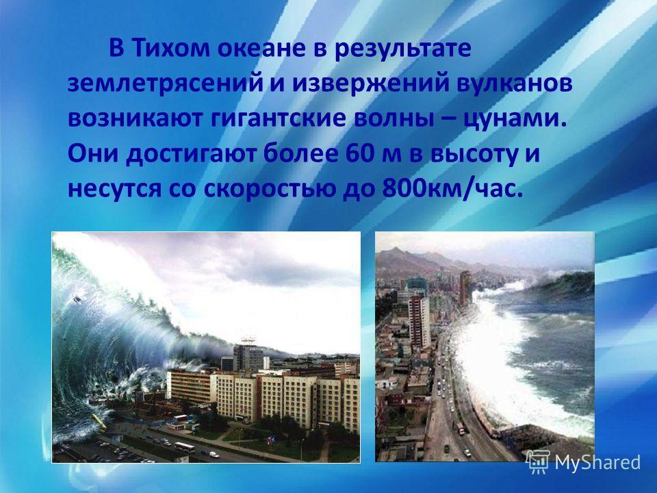 В Тихом океане в результате землетрясений и извержений вулканов возникают гигантские волны – цунами. Они достигают более 60 м в высоту и несутся со скоростью до 800 км/час.