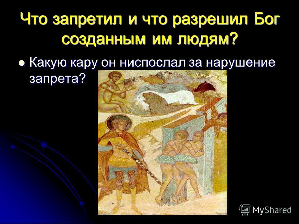 Что запретил и что разрешил Бог созданным им людям? Какую кару он ниспослал за нарушение запрета? Какую кару он ниспослал за нарушение запрета?