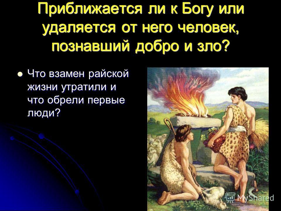 Приближается ли к Богу или удаляется от него человек, познавший добро и зло? Что взамен райской жизни утратили и что обрели первые люди? Что взамен райской жизни утратили и что обрели первые люди?