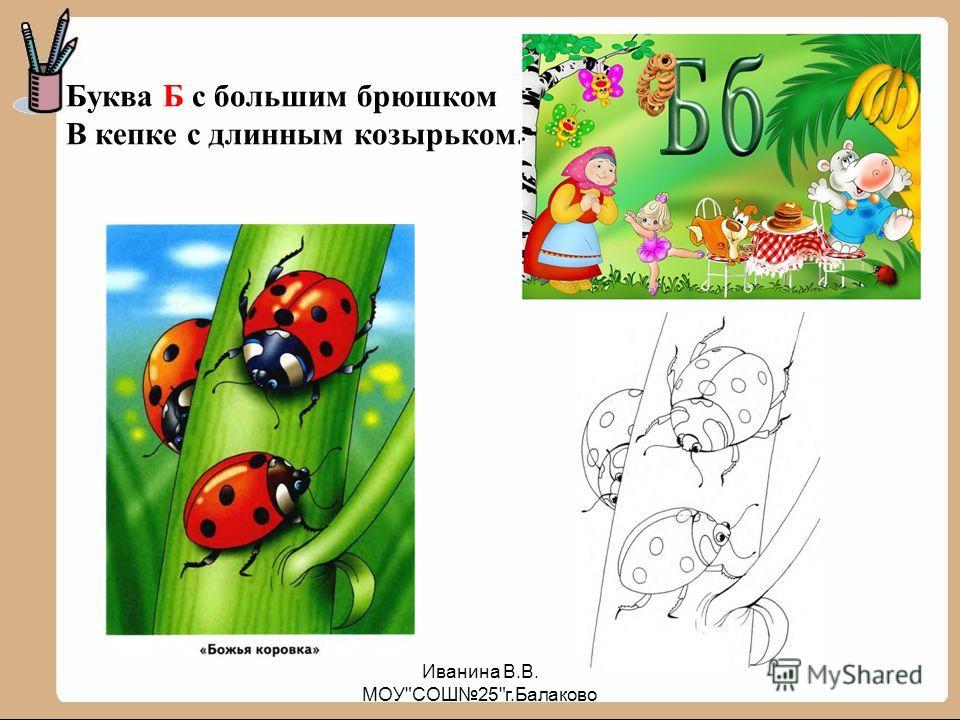 Буква Б с большим брюшком В кепке с длинным козырьком. Иванина В.В. МОУСОШ25г.Балаково