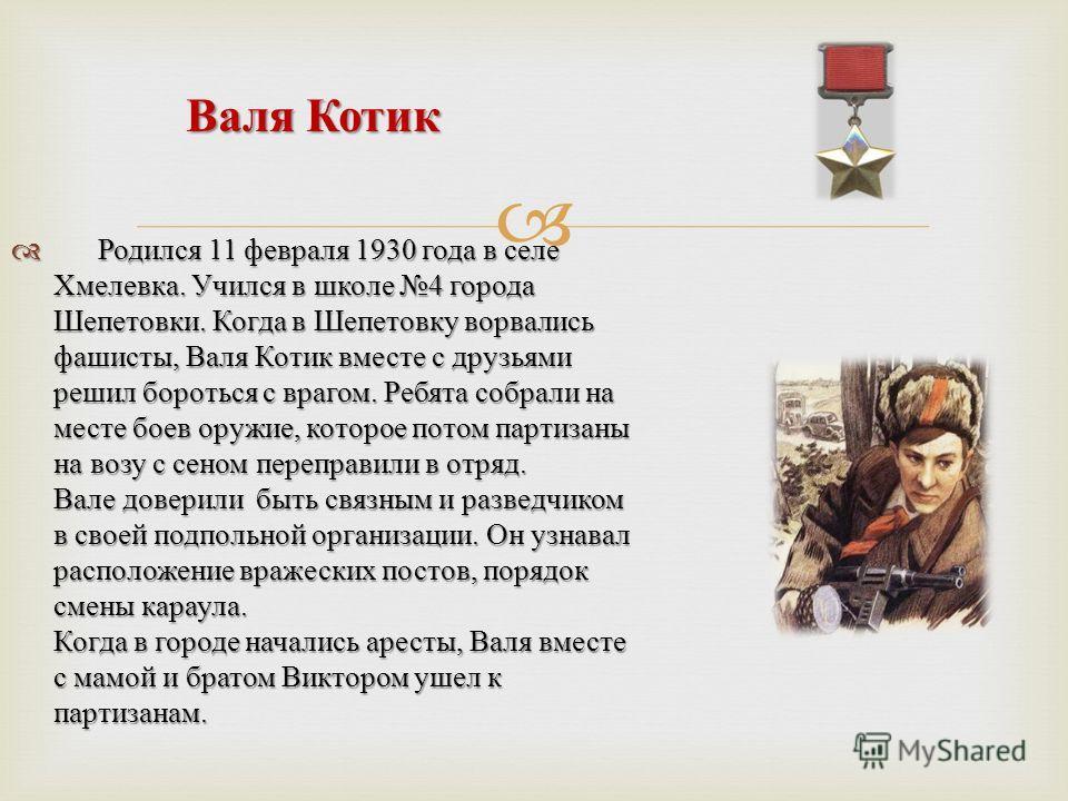 Родился 11 февраля 1930 года в селе Хмелевка. Учился в школе 4 города Шепетовки. Когда в Шепетовку ворвались фашисты, Валя Котик вместе с друзьями решил бороться с врагом. Ребята собрали на месте боев оружие, которое потом партизаны на возу с сеном п