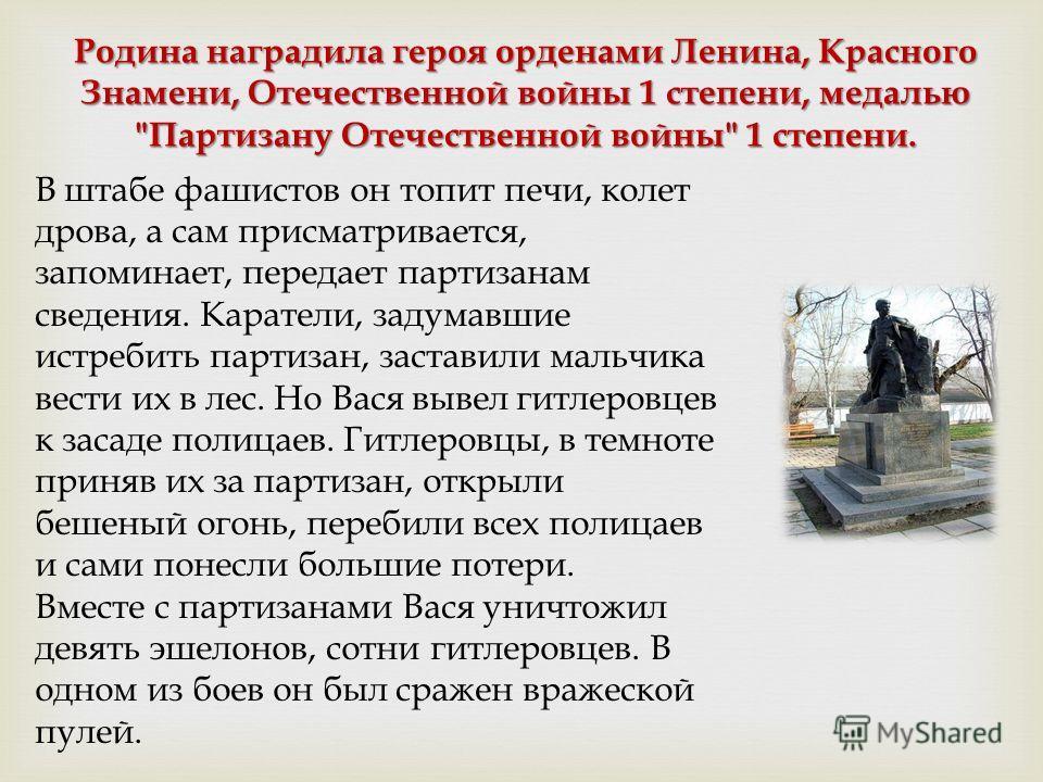 Родина наградила героя орденами Ленина, Красного Знамени, Отечественной войны 1 степени, медалью