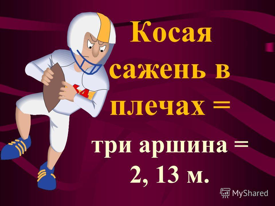 Косая сажень в плечах = три аршина = 2, 13 м.