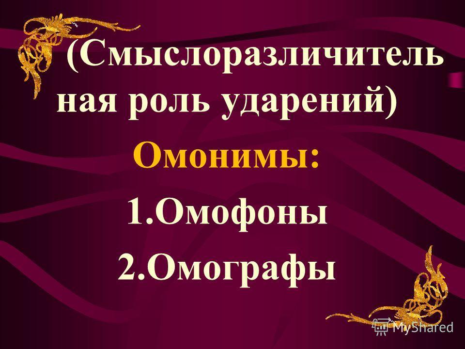 (Смыслоразличитель ная роль ударений) Омонимы: 1. Омофоны 2.Омографы