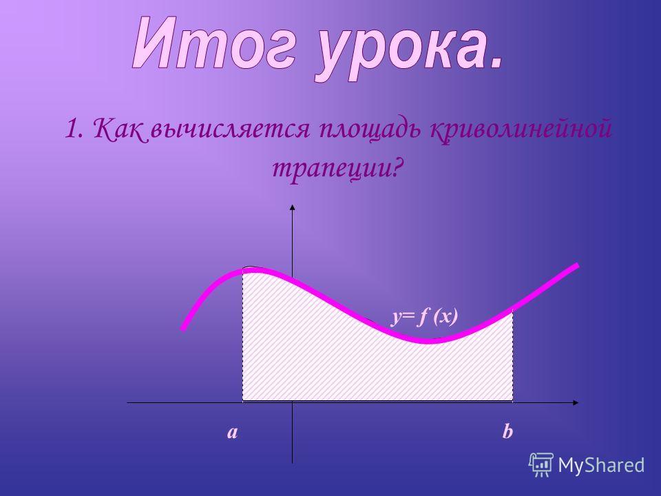 1. Как вычисляется площадь криволинейной трапеции? ab y= f (x)