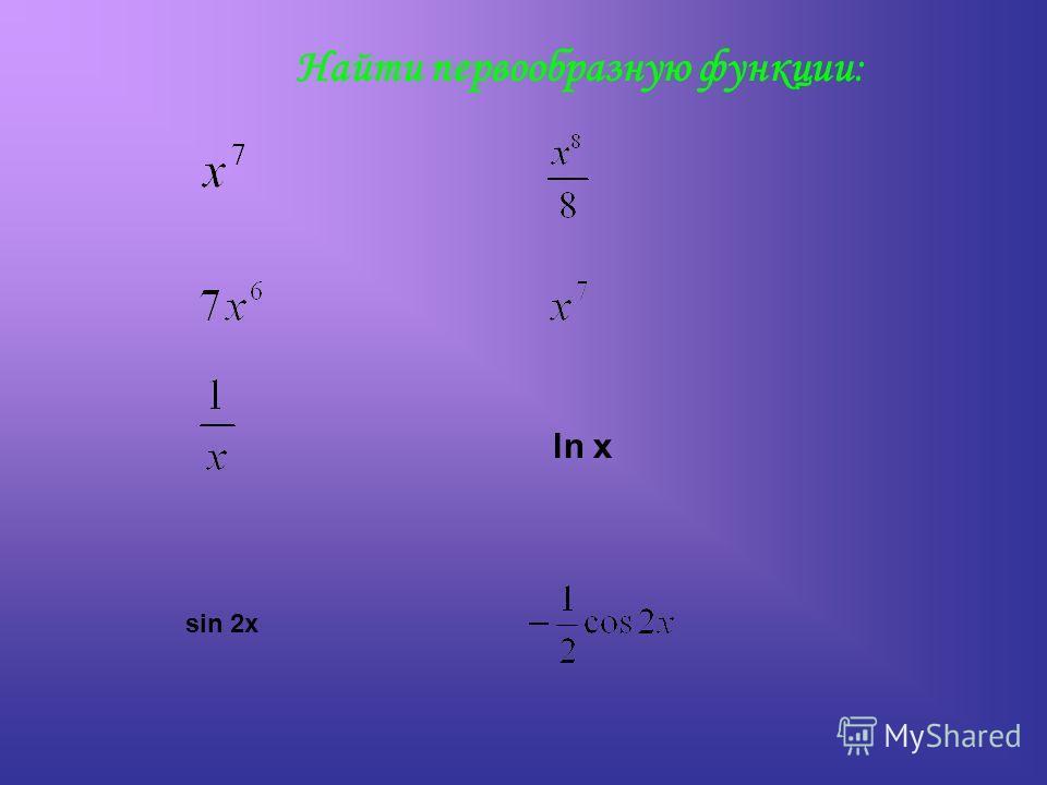 Найти первообразную функции: ln x sin 2x