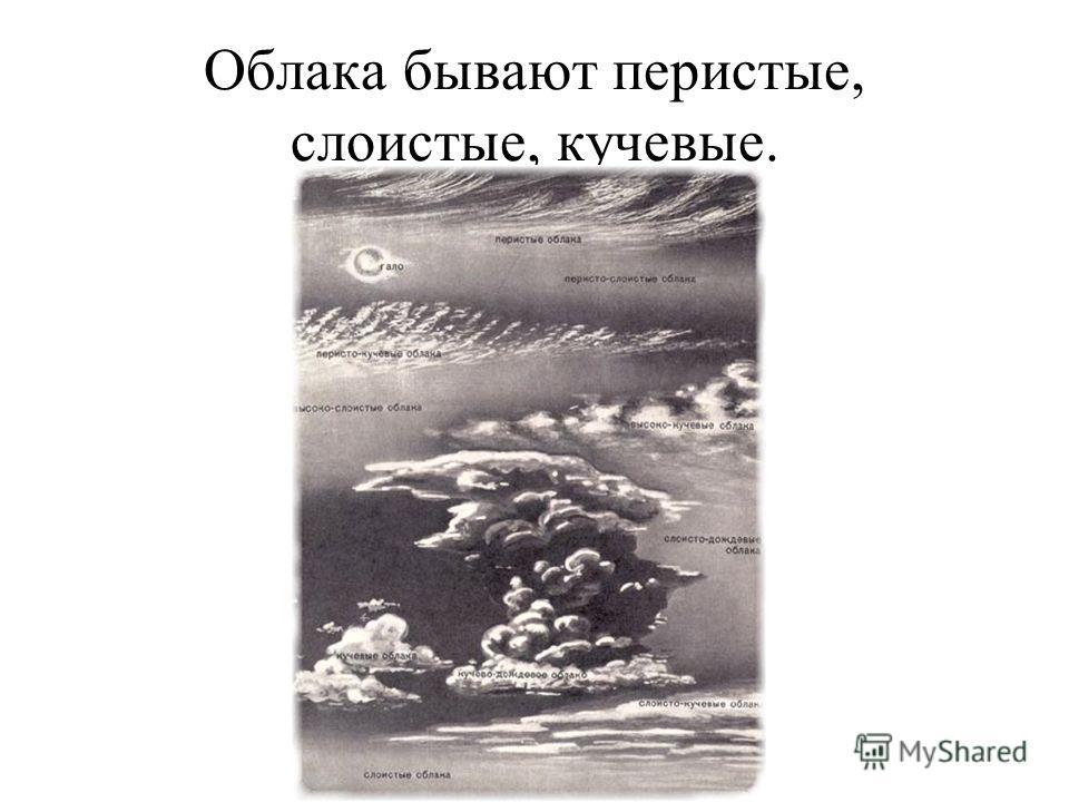 Облака бывают перистые, слоистые, кучевые.