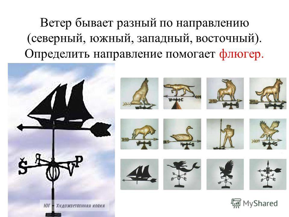 Ветер бывает разный по направлению (северный, южный, западный, восточный). Определить направление помогает флюгер.