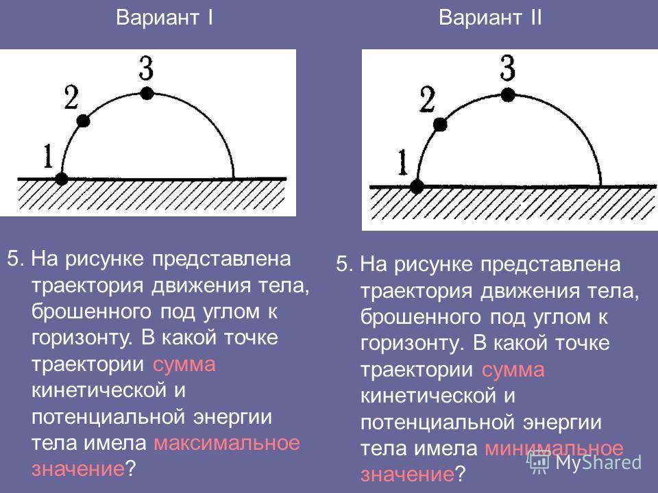 5. На рисунке представлена траектория движения тела, брошенного под углом к горизонту. В какой точке траектории сумма кинетической и потенциальной энергии тела имела минимальное значение? Вариант IВариант II 5. На рисунке представлена траектория движ