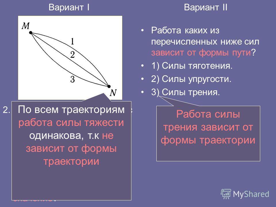 2. Лыжник может опуститься с горы от точки М до точки N по одной из траекторий, представленных на рисунке. При движении по какой траектории работа силы тяжести будет иметь максимальное по модулю значение? Работа каких из перечисленных ниже сил зависи