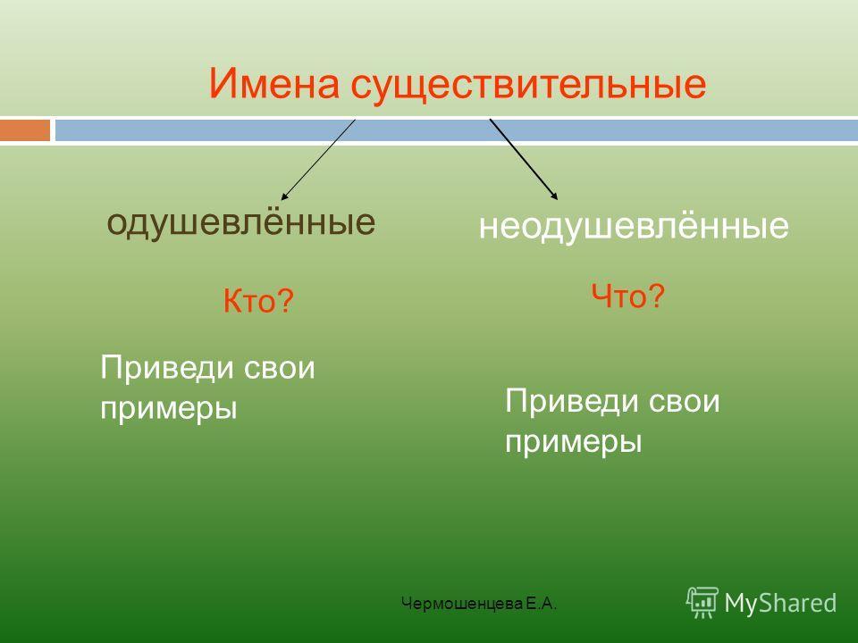 Чермошенцева Е.А. Имена существительные одушевлённые неодушевлённые Кто? Что? Приведи свои примеры Приведи свои примеры