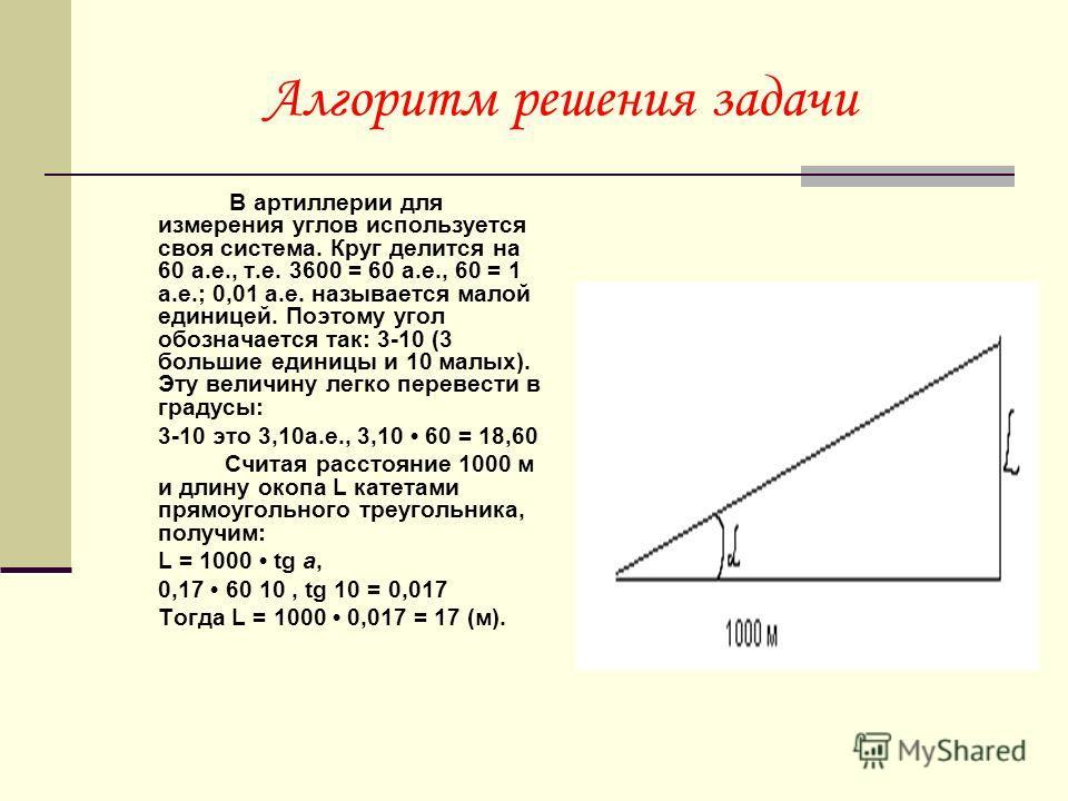 Алгоритм решения задачи В артиллерии для измерения углов используется своя система. Круг делится на 60 а.е., т.е. 3600 = 60 а.е., 60 = 1 а.е.; 0,01 а.е. называется малой единицей. Поэтому угол обозначается так: 3-10 (3 большие единицы и 10 малых). Эт