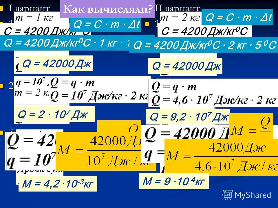I вариант I вариант 1. 1. 2. 2. 3. 3. II вариант 1. 2. 3. Q = 42000 Дж Q = 2 · 10 7 Дж Q = 9,2 · 10 7 Дж M = 4,2 ·10 -3 кг Проверяем! C = 4200 Дж/кг 0 С Q = C · m · Δt Q = 4200 Дж/кг 0 С · 1 кг · 10 0 С C = 4200 Дж/кг 0 С Q = C · m · Δt Q = 4200 Дж/к