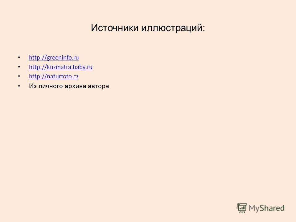 Источники иллюстраций: http://greeninfo.ru http://kuzinatra.baby.ru http://naturfoto.cz Из личного архива автора