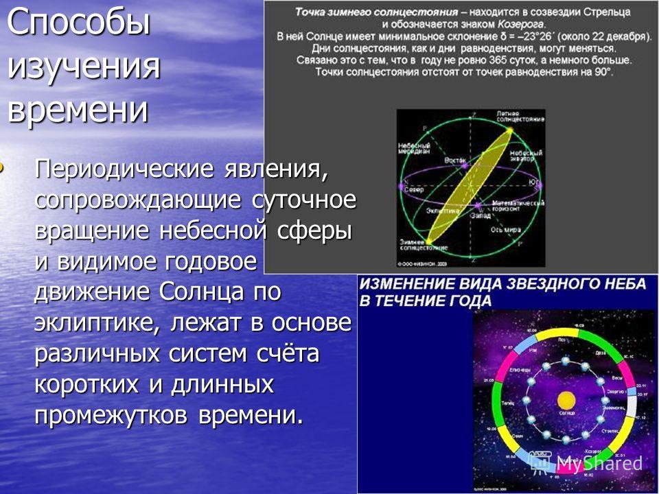 Способы изучения времени Периодические явления, сопровождающие суточное вращение небесной сферы и видимое годовое движение Солнца по эклиптике, лежат в основе различных систем счёта коротких и длинных промежутков времени. Периодические явления, сопро